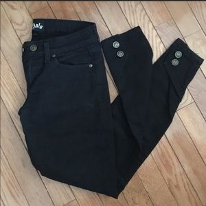 Anlo Low-rise Skinny Black Jeans button ankle 25